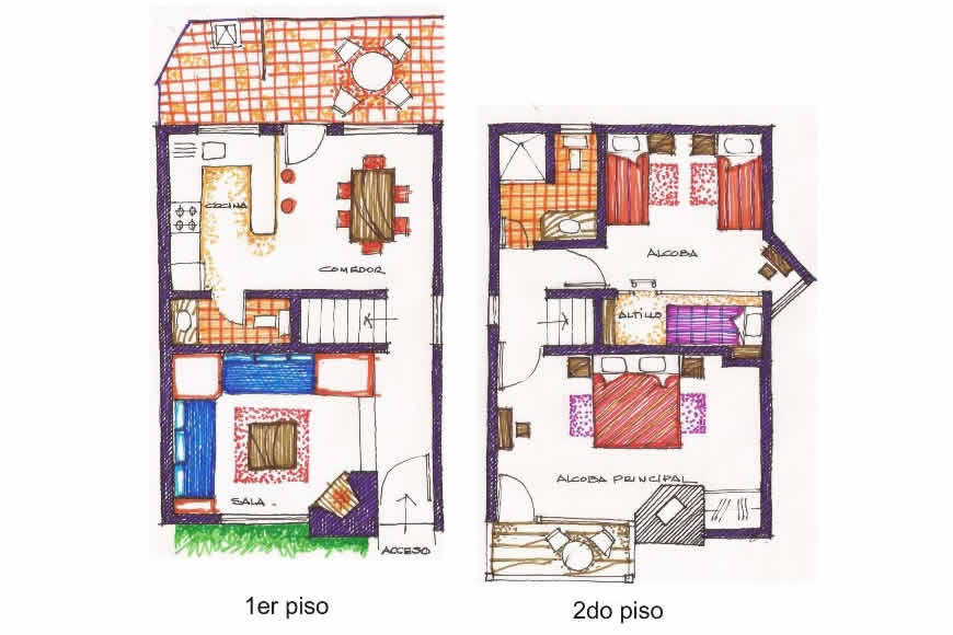 Plano casa de las aguas en Villa de Leyva