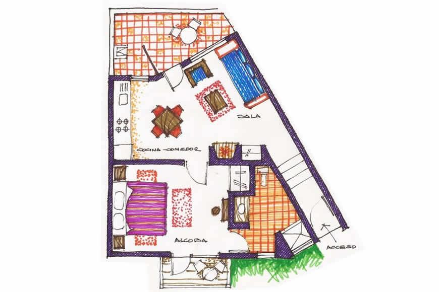 Plano casa de las aguas 2 en Villa de Leyva