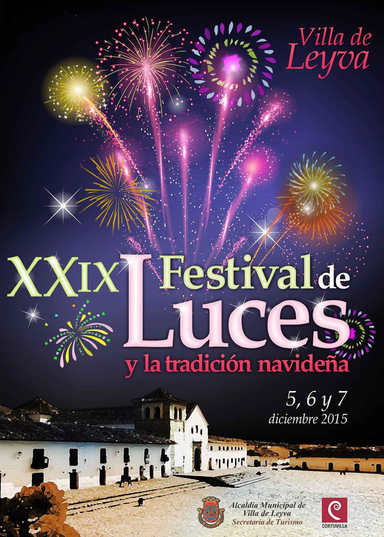 Afiche del festival de luces de Villa de Leyva