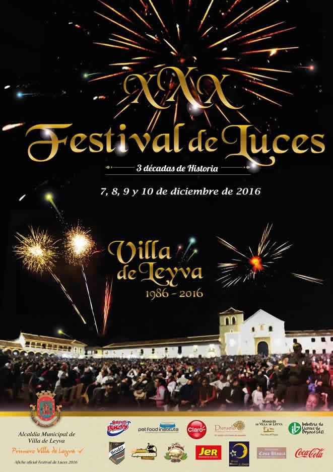 Afiche del 30 festival de luces de Villa de Leyva 2016